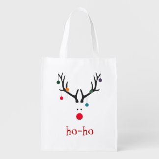 Funny and cute minimalist Santa's reindeer Reusable Grocery Bag