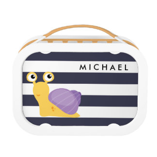 Funny and cute snail on a horizontal stripes lunch box