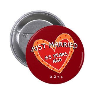 Funny and Romantic 65th Anniversary 6 Cm Round Badge