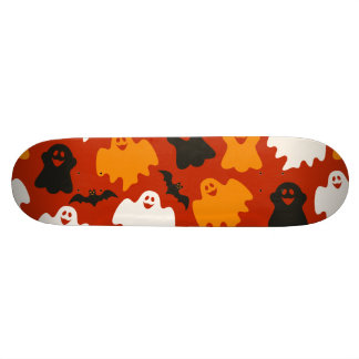 Funny and Spooky Halloween Ghost Pattern on Brown Skate Board Decks