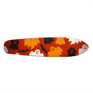 Funny and Spooky Halloween Ghost Pattern on Brown Skateboards