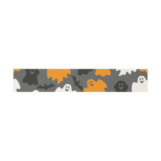 Funny and Spooky Halloween Ghost Pattern on Grey Invitation Belly Band