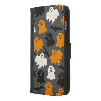 Funny and Spooky Halloween Ghost Pattern on Grey iPhone 6/6s Plus Wallet Case