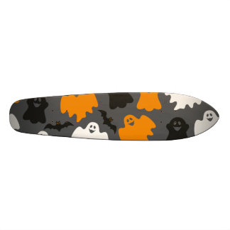 Funny and Spooky Halloween Ghost Pattern on Grey Skate Decks