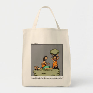 Funny Anesthesiologist Caveman Tote Bag Gift