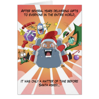 """Funny Angry Santa Claus """"Where is MY present?!"""" Cards"""