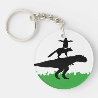 funny animal dinosaur fox penguin pyramid key ring