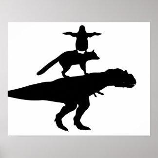 funny animal dinosaur fox penguin pyramid poster