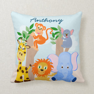 Funny animals personalised name throw pillow