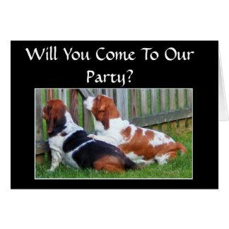 Funny Anniversary Invitation w/Cute Bassets