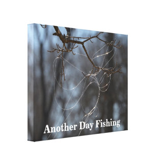 Funny Another Day Fishing Tangled Line On A Tree Canvas Print