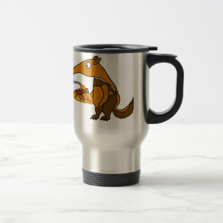 Funny Anteater eating Pizza Cartoon Travel Mug