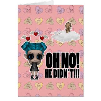 funny anti vday uninvited cupid emo girl greeting card