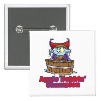funny apple bobbing champion cartoon pinback button