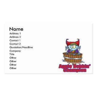 funny apple bobbing champion cartoon business card templates