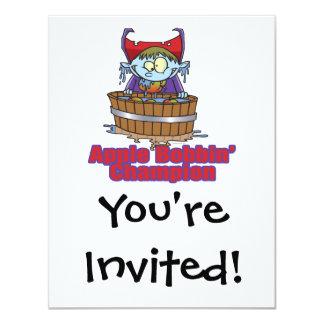 funny apple bobbing champion cartoon 11 cm x 14 cm invitation card