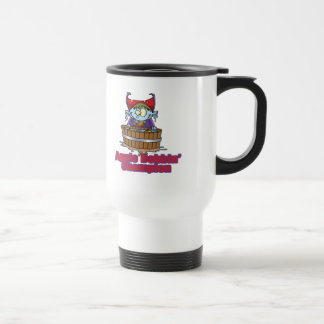 funny apple bobbing champion cartoon mug