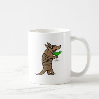 Funny Armadillo Drinking Margarita Art Coffee Mug