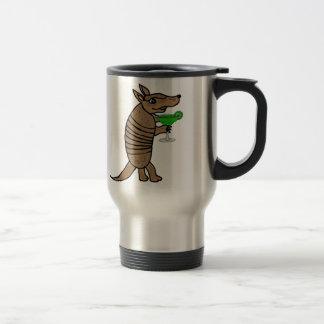 Funny Armadillo Drinking Margarita Art Travel Mug