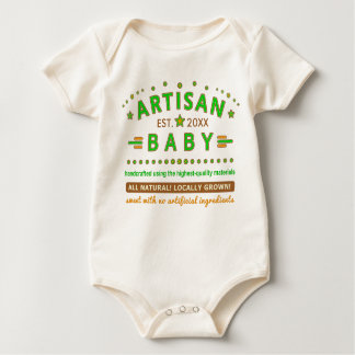 Funny Artisan Baby Cute with Birth Year Hipster Baby Bodysuit