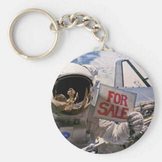 Funny Astronaut - Satellites For Sale Basic Round Button Key Ring