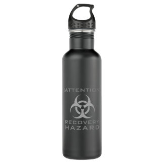 Funny attention biohazard sign parody 710 ml water bottle