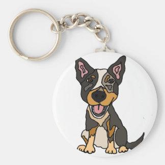 Funny Australian Cattle Dog Puppy Artwork Key Ring