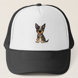 Funny Australian Cattle Dog Puppy Artwork Trucker Hat