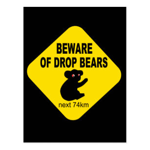 Funny Australian Sign. Beware of Drop Bears. Postcard