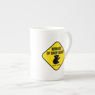 Funny Australian Sign. Beware of Drop Bears. Porcelain Mugs