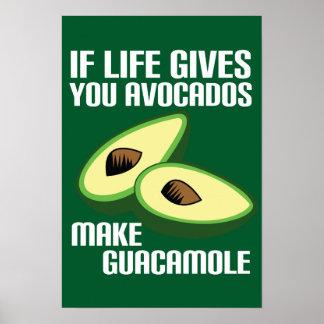 Funny Avocado Make Guacamole Joke Poster