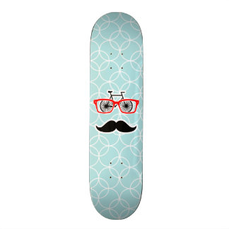 Funny Baby Blue Hipster Mustache Skateboard Deck
