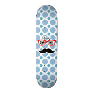 Funny Baby Blue Mustache; Hipster Skateboard Deck