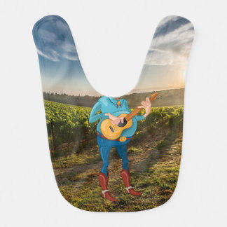 Funny Baby Boy on the Farm Playing Guitar Bibs