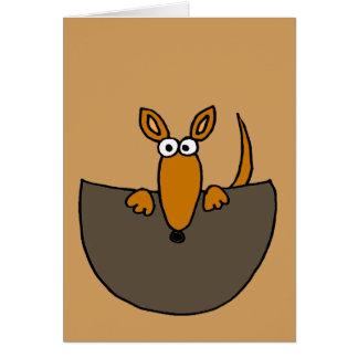 Funny Baby Kangaroo in Pouch Cartoon Card