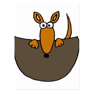 Funny Baby Kangaroo in Pouch Cartoon Postcard