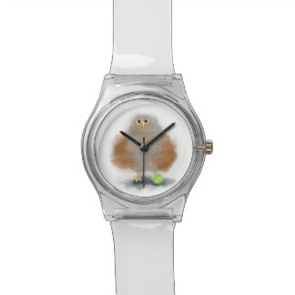 Funny baby owl with tennis ball wrist watch