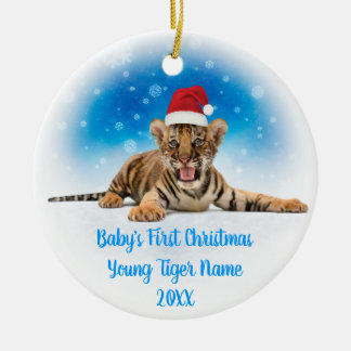 Funny Baby's First Christmas | Photo on back side Ceramic Ornament