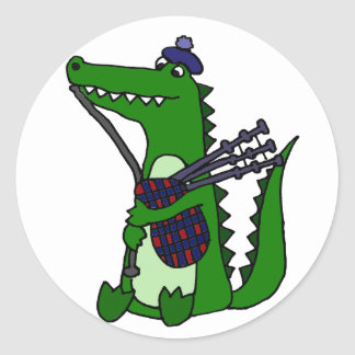 Funny Bagpipe Playing Alligator Round Sticker