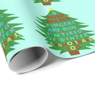 Funny Bah Humbug Christmas Poem Wrapping Paper