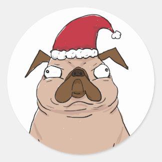 Funny Bah Humpug Santa Pug Christmas Stickers