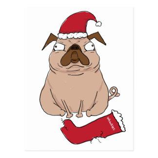 Funny Bah Humpug Santa Pug Custom Christmas Card