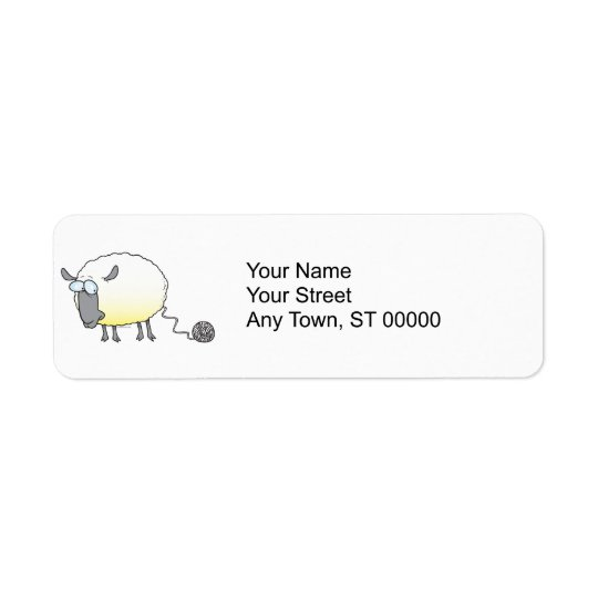 funny ball of yarn cloned sheep cartoon return address label