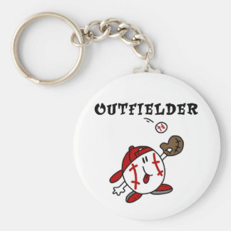 Funny Baseball Outfielder T-shirts and Gifts Basic Round Button Key Ring