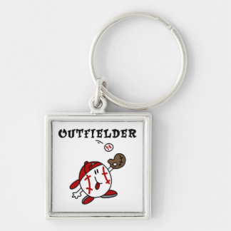 Funny Baseball Outfielder T-shirts and Gifts Silver-Colored Square Key Ring
