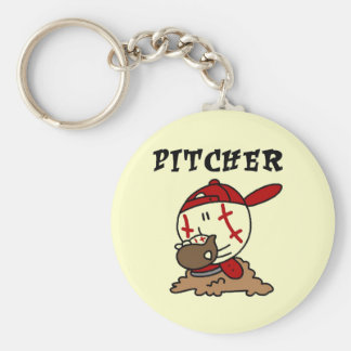 Funny Baseball Pitcher T-shirts and Gifts Basic Round Button Key Ring
