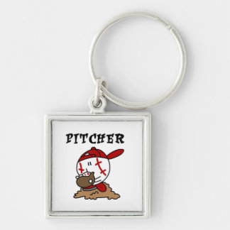 Funny Baseball Pitcher T-shirts and Gifts Silver-Colored Square Key Ring