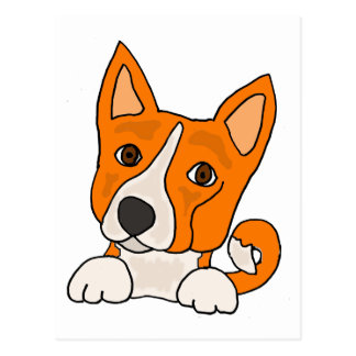 Funny Basenji Puppy Dog Art Postcard