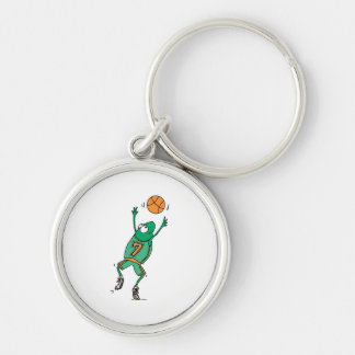 funny baskeball froggy Silver-Colored round key ring