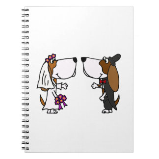 Funny Basset Hound Bride and Groom Wedding Art Note Book